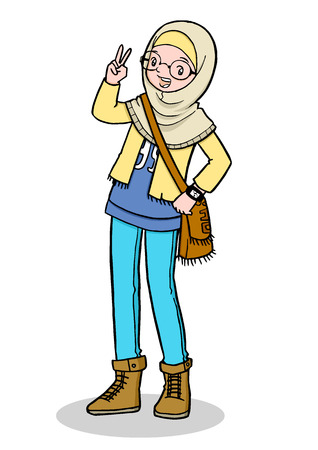 Cartoon illustration of Trendy Muslim Girl with Bag Illustration