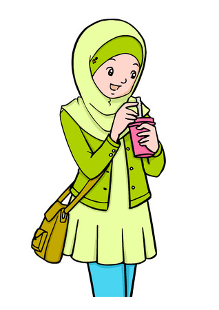 Cartoon illustration of Muslim girls with bag Illustration