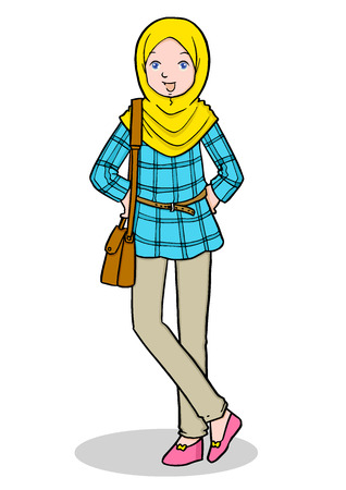 Cartoon illustration of Muslim girls