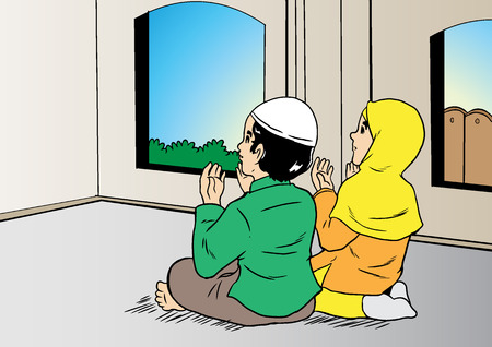 An illustration of asian couple muslim praying in bedroom Illustration