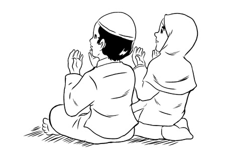 couple together: Indonesian couple praying together at mosque Illustration
