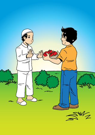 An illustration of a man offering food to a muslim friend Illustration