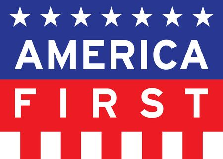 vector illustration of america first and flag