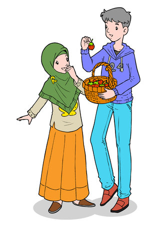 Asian muslim brother sharing fruits to his sister