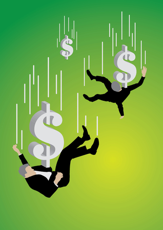 Falling businessman pushed down by big dollar sign on green background