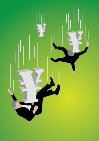 緑の背景に大きな円記号によってプッシュ ダウン落下実業家