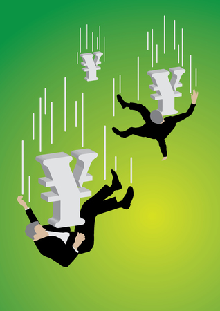 Falling businessman pushed down by big yen sign on green background