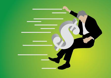 businessman pushed back by big dollar sign on green background
