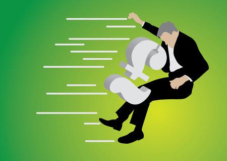 collapsing: businessman pushed back by big pound sterling sign on green background