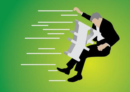 businessman pushed back by big yen sign on green background