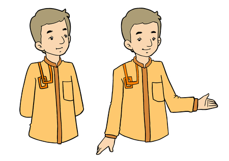 thoughtful: Young muslim man with various facial expressions and gesturing. Vector illustration Illustration