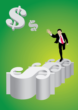 Businessman running on dollar steps chasing flying dollar