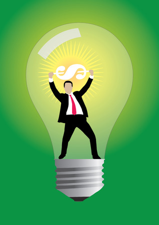 An illustration of businessman hands up holding a glowing dollar in light bulb