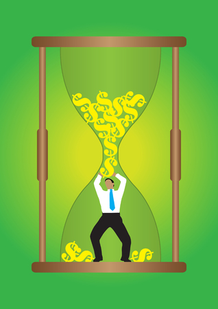 An Illustration of businessman holding up from falling dollar inside hour glass