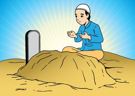 Un hombre musulmán asiático rezando por el ser querido en el cementerio Ilustración de vector