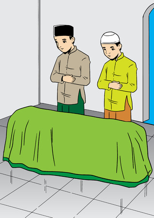 An Illustration of two asian men praying for the dead Illustration