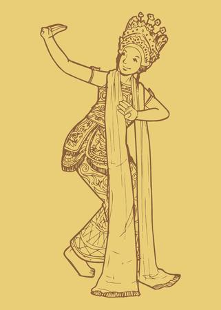 Lijn kunst illustratie van Indonesische traditionele dans uit Bali