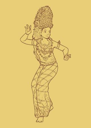 バリ島からインドネシアの伝統的なダンスのライン アート イラスト
