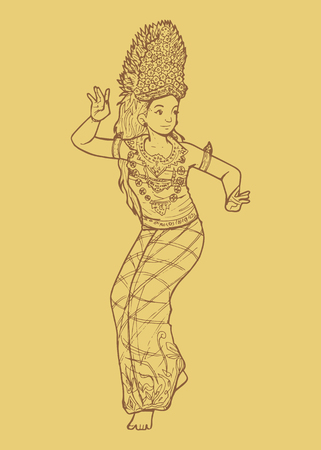 Line art illustration of Indonesian traditional dance from Bali