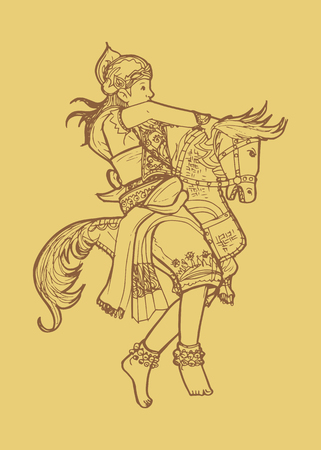 Line art illustration of traditional Javanese Indonesian dance kuda lumping or leathered horse