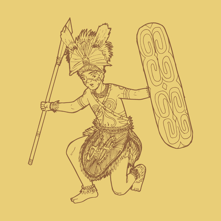 Illustration en ligne de la danse traditionnelle indonésienne en Papouasie