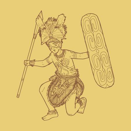 Line art illustration of traditional Papua Indonesian dance