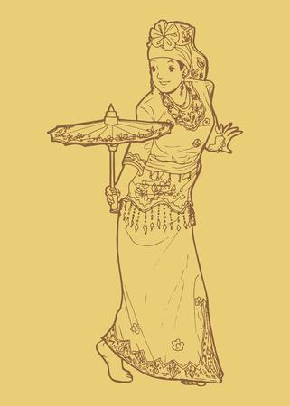 Line art illustration of traditional West Sumatra Indonesian dance tari payung or umbrella dancing