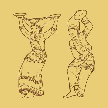 sumatran: Line art illustration of traditional West Sumatra Indonesian dance tari piring or plate dancing