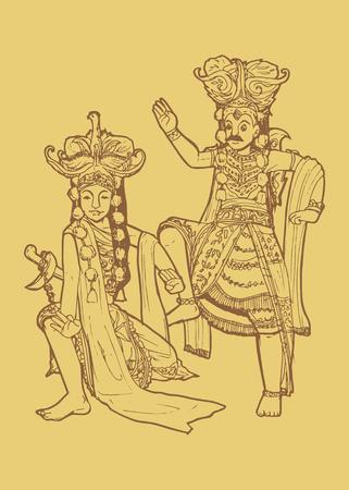 Line art illustration of traditional East Java Indonesian dance tari topeng or mask dancing Illustration