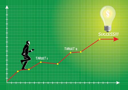 Illustration der Geschäftsmann in Richtung Glühbirne laufen