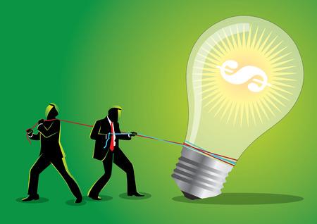 Illustration of two businessmen pulling a big light bulb