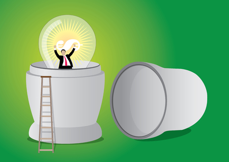 An Illustration of businessman inside Russian doll with big light bulb