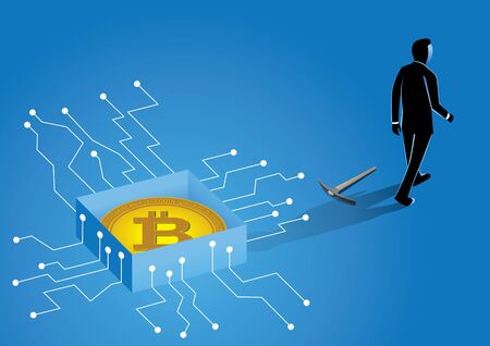 An illustration of businessman with pickaxe digging crypto currency in digital world