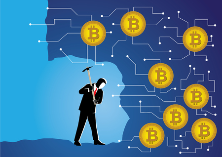 An Illustration of businessman digging to get crypto currency