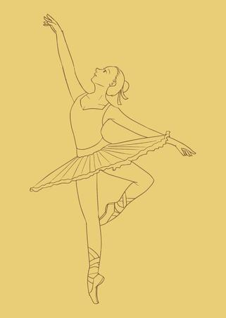 An illustration of female ballet dancer in brown background Illustration