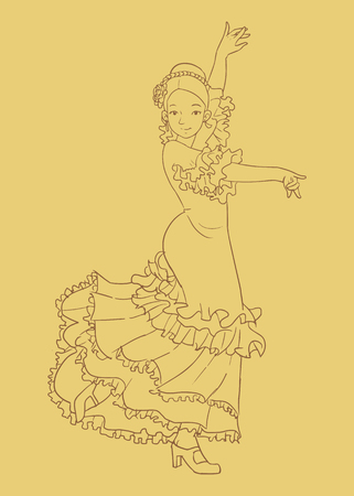 An Illustration of a woman performing flamenco dance