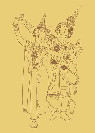 An Illustration of Thailand Dance - The Khon