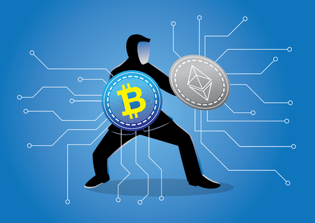 An illustration of a man using crypto currency as shield Иллюстрация