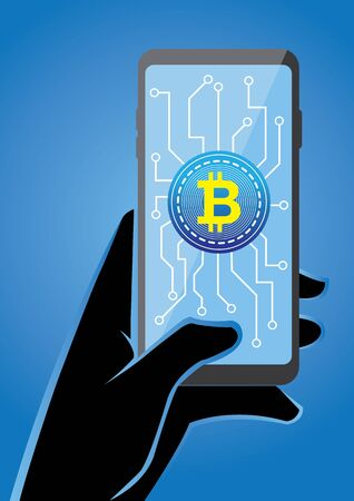 An illustration of a hand holding smartphone with crypto currency symbol