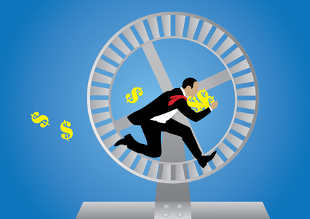 Concept of business loop with running businessman and dollar sign.