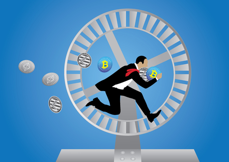 Concept of business loop with running businessman.
