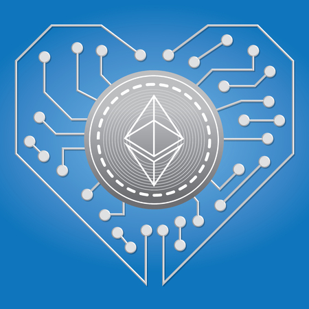 An illustration of crypto currency with love circuit board