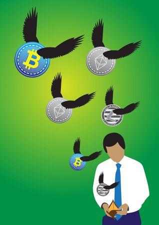 Een illustratie van zakenman open lege portefeuille met vliegende cryptomuntstukken