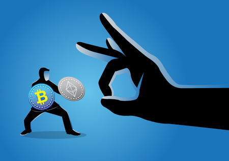 Vector illustration of a giant hand flicking away a businessman holding bitcoins Illustration