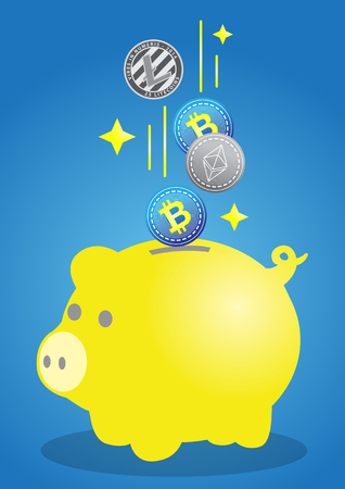 Pig piggy bank with bitcoins vector illustration in flat style. The concept of saving or save money or open a bank deposit. The idea of an icon of investments in the form of a toy pig piggy bank.