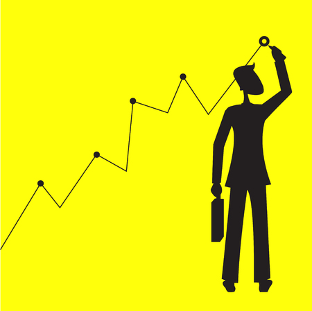 Hoping to Reach a Goal. Businessman standing and setting the goal. Business concept vector illustration