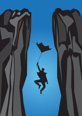 Scared businessman falling down form a broken umbrella and screaming Ilustração
