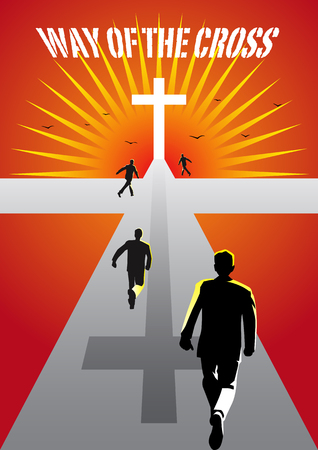 An Illustration of Cross with light background calling people to come. 일러스트