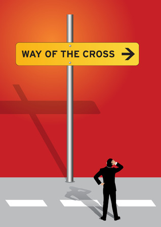 An Illustration of a signage to way of the cross and a man looking up Stock Illustratie