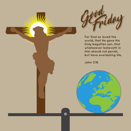 Good Friday Religious Background with Cross, Globe and Scale